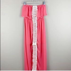 🌿No Boundaries Bobo Strapless Maxi Dress Crochet